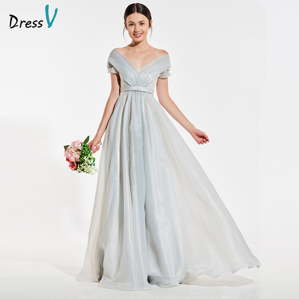 Dressv elegant silver off the shoulder bridesmaid dress short sleeves a line wedding party women floor length bridesmaid dress