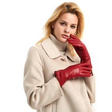 Free Shipping Harssidanzar Womens Luxury Italian LambskinLeather Gloves Vintage Finished Cashmere Lined