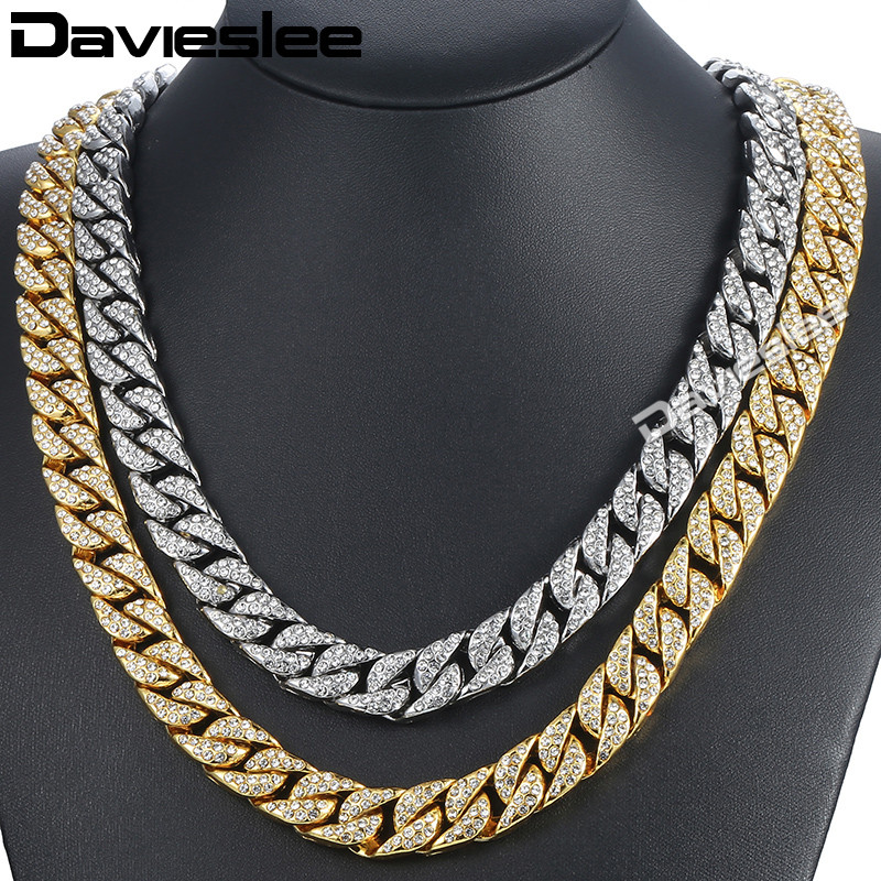 Davieslee14mm Men's Necklace Hiphop Iced Out Miami Curb Cuban Gold Necklace Paved Clear Rhinestones Womens Mens Chain DLGN432