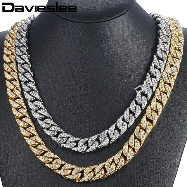 d8c1f35a2a2e Davieslee14mm hombres collar de Hiphop helado Miami Cuba frenar collar de  oro pavimentado de imitación claro