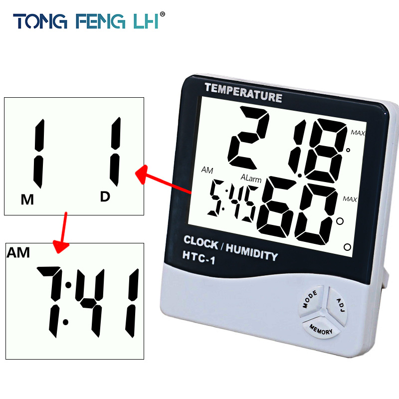 For HTC-1 High accuracy LCD Digital Thermometer Hygrometer Indoor Electronic Temperature Humidity Meter Clock Weather Station