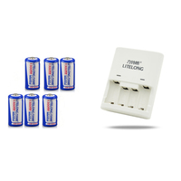6pcs High Capacity 1300mAh 3v CR123A Lithium LiFePO4 Lithium Battery + cr123a CR2 Battery Charger