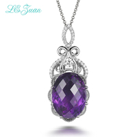 L Zuan 9 12ct Natural Amethyst Pendants 100 925 Sterling Silver Jewelry Cluster Gmestone Luxury Pendant