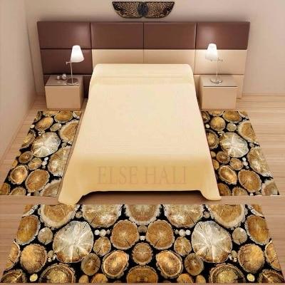 Else 3 Piece Brown Trees Wood Bags Floral 3d Pattern Print Non Slip Microfiber Washable Decor Bedroom Area Rug Carpet Set