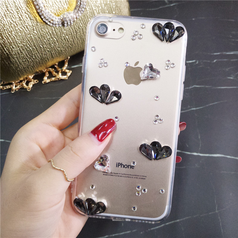 Smartphone case Mode Bling Crystal Pearl Rhinestone Soft Clear Case Cover Transparante Soft shell Voor Huawei 8 P9 P10 P20 lit