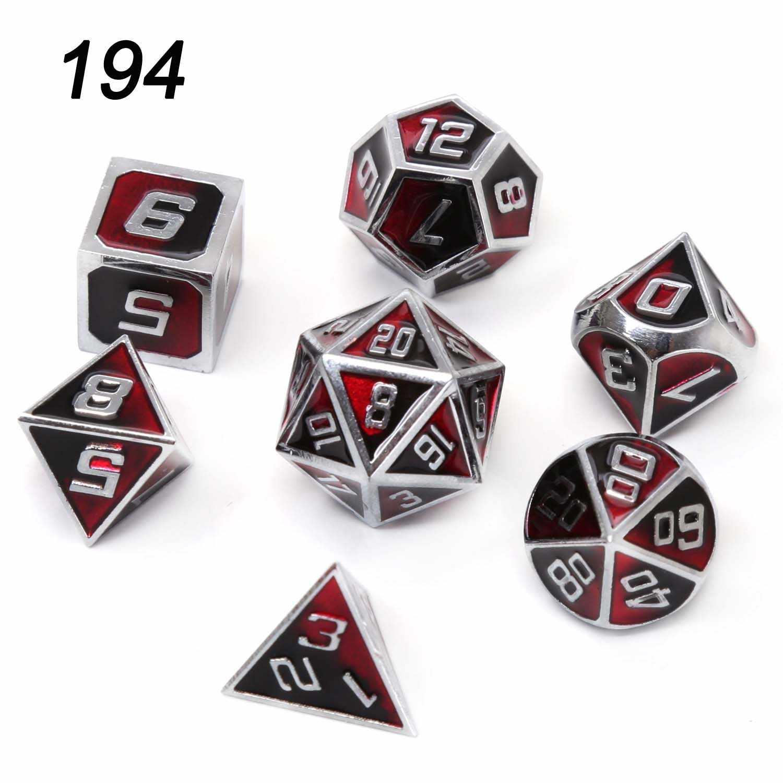 Chengshuo โลหะ Volcanic ลูกเต๋าคู่สี DND ชุด polyhedral เคลือบ RPG สำหรับ Dungeons และมังกรสังกะสีโลหะผสม dices ตารางเกม d6