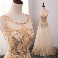 2018 hot Lace Gold Evening Dress Long Formal gown Prom Robe de Soiree Mother of the Bride Dresses come with Belt plus size HL789