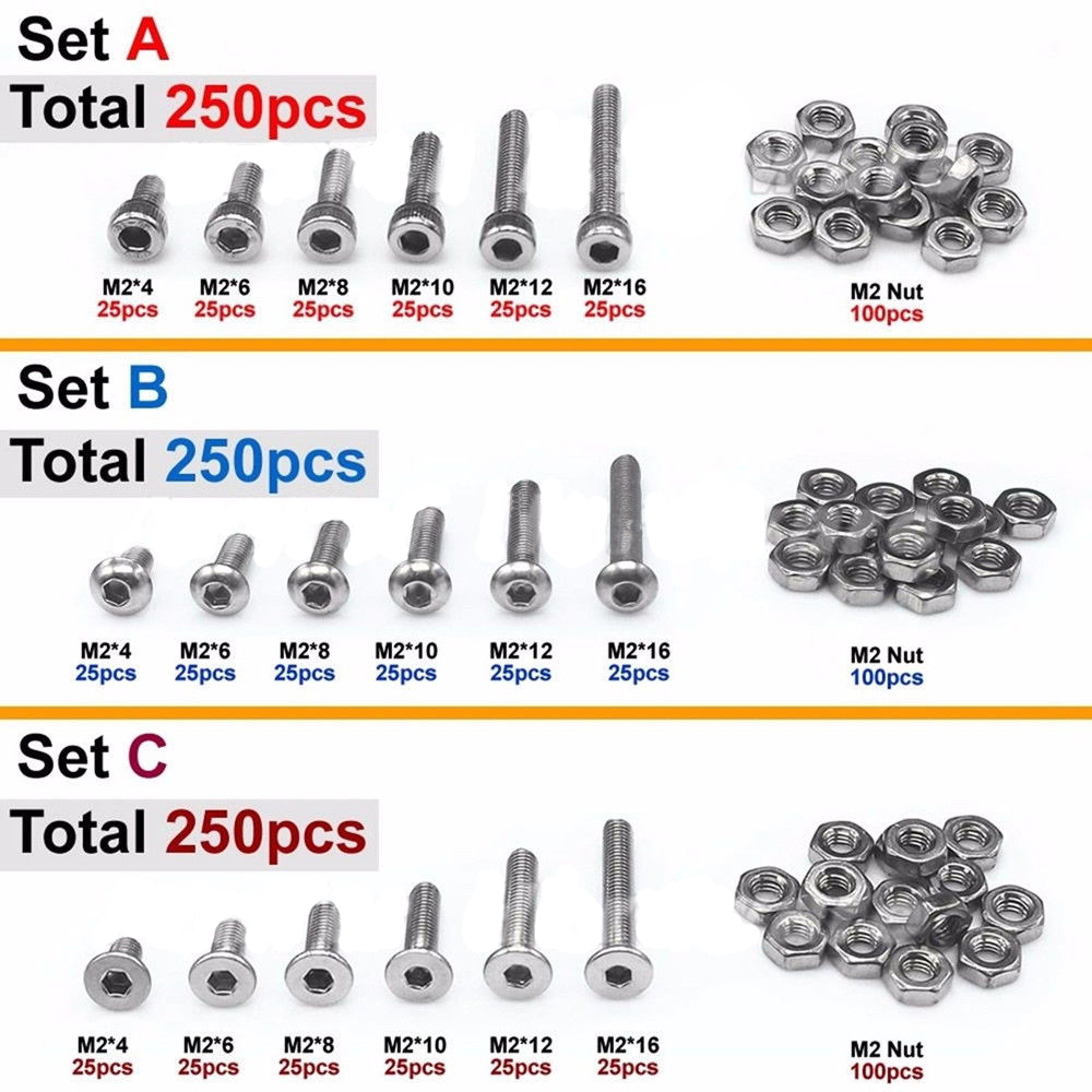 250pcs <font><b>M2</b></font>(2mm) A2 SS Allen Bolts With Hex Nuts Screws Assortment Kit image