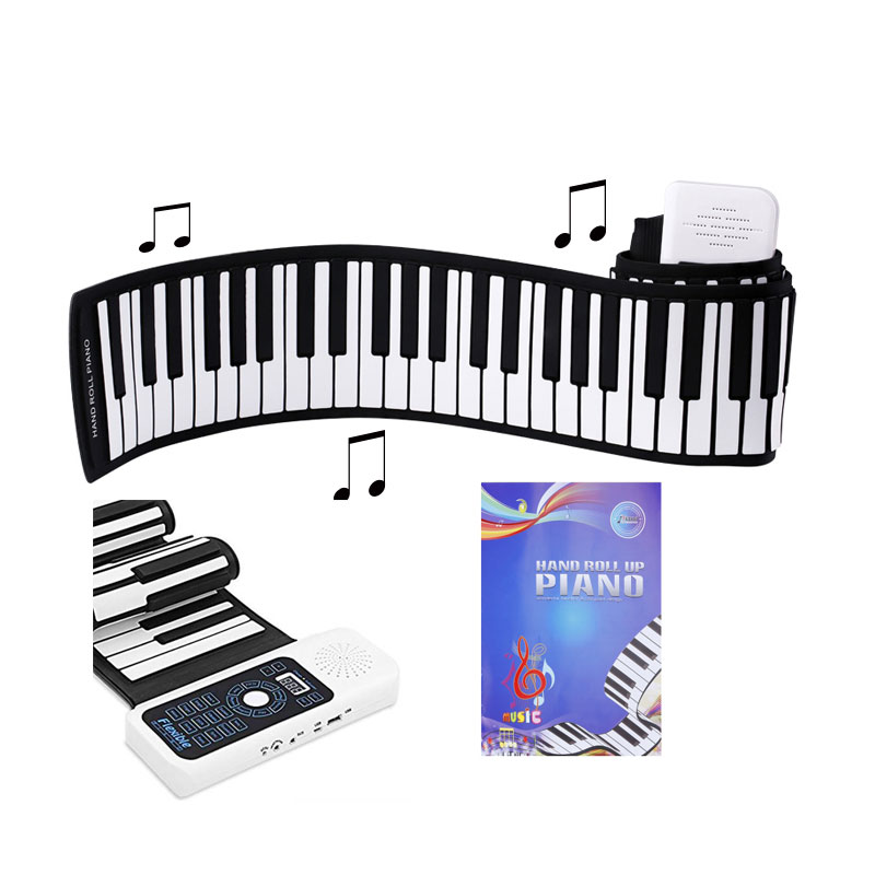 Silicone + plastique Portable 61 clés, piano électronique de clavier de rouleau avec le jouet de stagiaire d'apprentissage de MIDI
