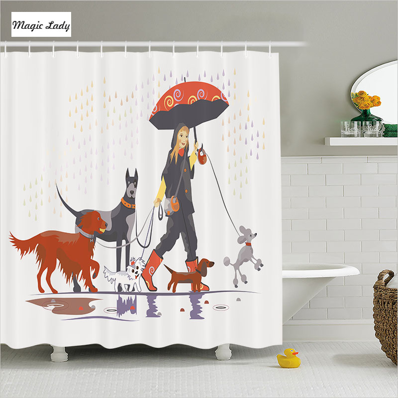 Shower Curtain Rain Bathroom Accessories Dogs Pets