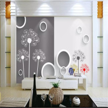Simple black and white dandelion 3D TV background wall manufacturers wholesale wallpaper mural custom photo