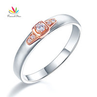 Peacock Star Men's Solid 14K White Gold Rose Gold 2 Tone Wedding Band Men Ring Diamond