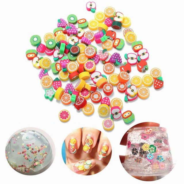 100PCS 3 Styles DIY Slime Accessories Decor Fruit Cake Flower Polymer Clay Toy Ornament Toy For Children