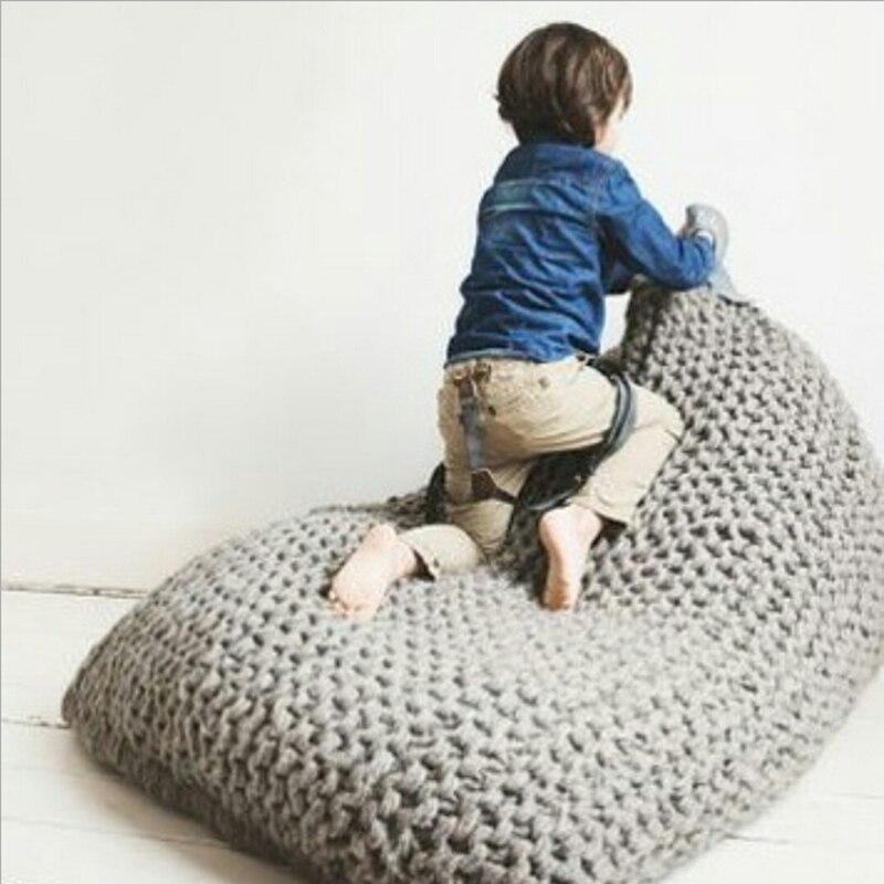 Creatividad artesanal sofá perezoso niños bolsa de frijol silla del sofá Sala niños solo Puff sofá cama Tatami decoración del hogar 5