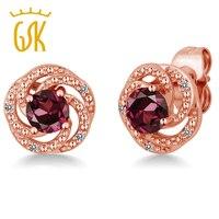 GemStoneKing 1.26 Ct Rhodolite Granato Rosso Naturale Diamante 18 K Oro Rosa Placcato Argento Fiore Orecchini