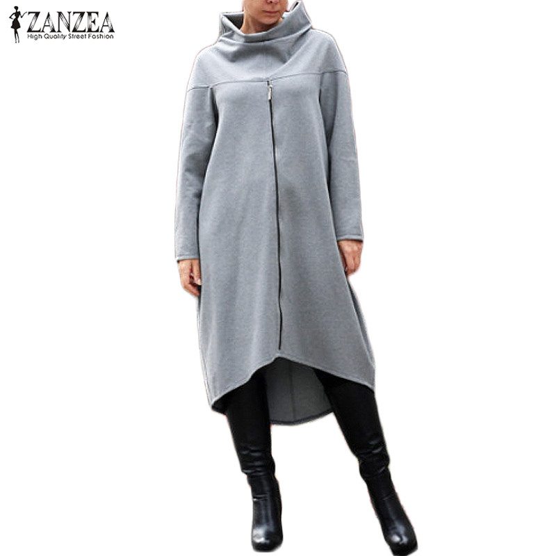 Plus Size ZANZEA Autumn Long Sweatshirt Women Turtleneck Long Sleeve Zipper Brief Loose Dress Solid Irregualr