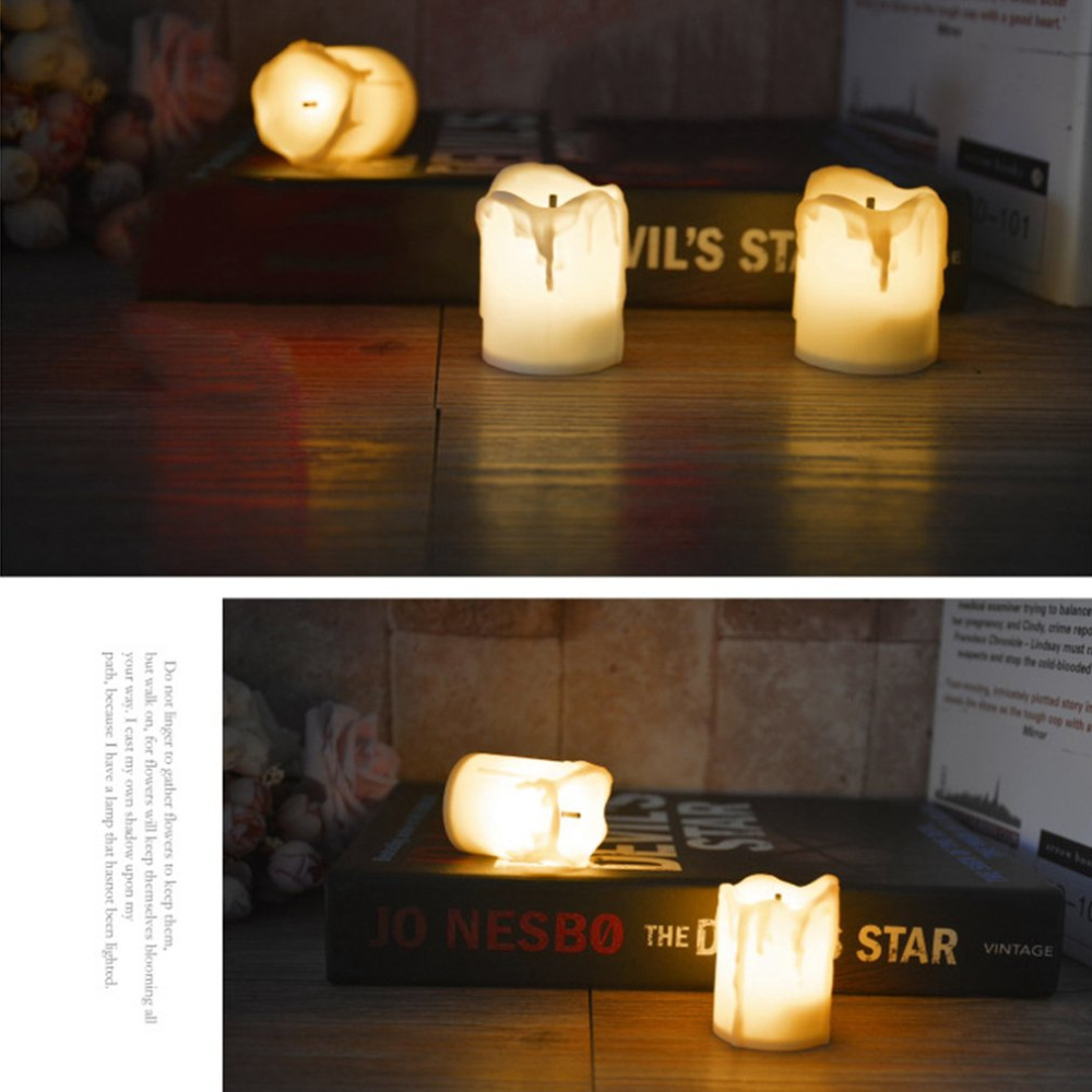 12pcs Flameless Electronic LED Candles Lamp Cylindrical Flickering Tear Dropped LED Tea Light Wedding Festival Decor Candles New