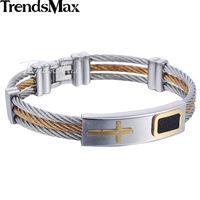 Trendsmax Stainless Steel Bracelet Wristband Bangle Chain Mens Boys Silver Tone 3 Strands Rope Cross Movable