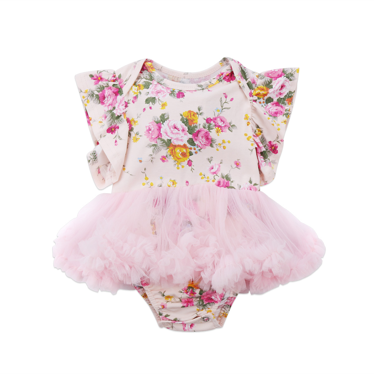 Floral Romper Jumpsuit Tulle Dresses Cute Princess Newborn Baby Girls Clothes Set