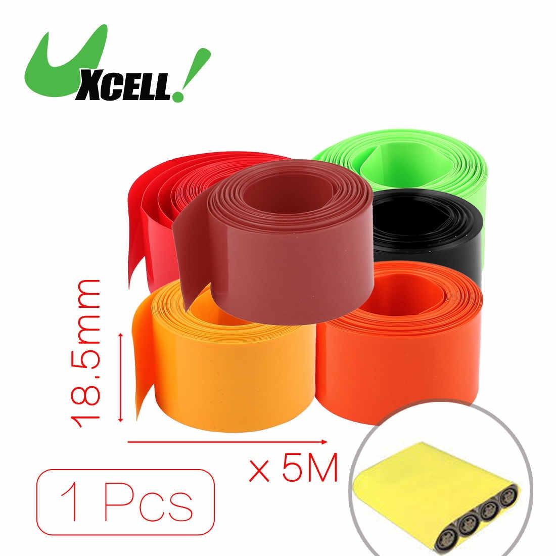 Uxcell 18.5Mm Diameter 5M Length Pvc Heat Shrink Tube Tubing Battery Wrap Clear .blackcleargreenorangeredwhite