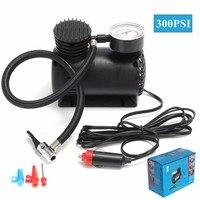 12V Portable Mini Air Compressor 300 PSI Auto Car Electric Tire Inflator With 2 Nozzle Adapters
