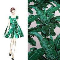 Vintage Green Banana Leaf Cotton Fabric Palm Leaf Dress Fabric Women Children 100 Cotton Dress Tissu
