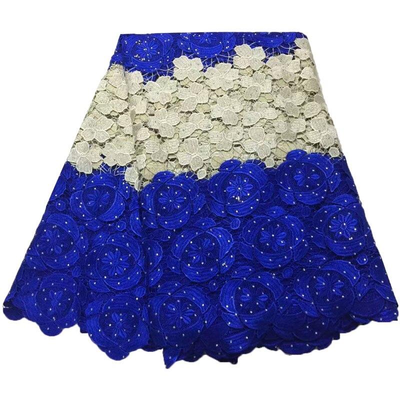 HFX or/bleu Royal nigérian mariage africain dentelle tissus en gros broderie Guipure cordon dentelle tissu avec des pierres X1115-5