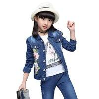 2018 Spring School Children Tracksuits Kids Jean Jacket+Denim Pants 2pcs Girls Sport Suits Girls Denim Suits Kids Clothing Set