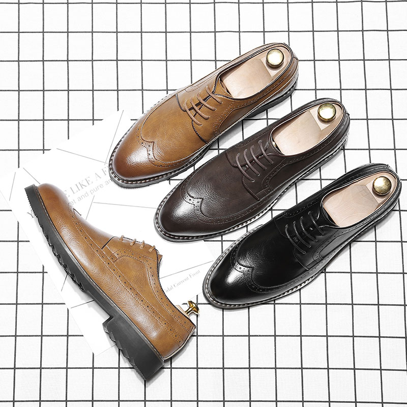 Big size 46 fashion luxury men's leather shoes wedding Business dress shoe for Gentleman Nightclubs brogue Carved shoes RA-69