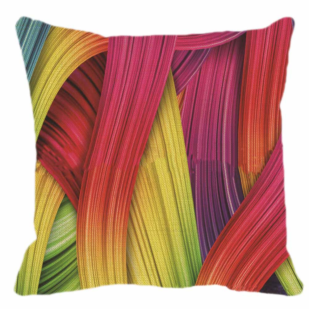 Colorful Rainbow Colour Pillowcase Cover Flax Square Throw Pillow Cover 45x45CM Pillow Case Home Office Stuff Dekor