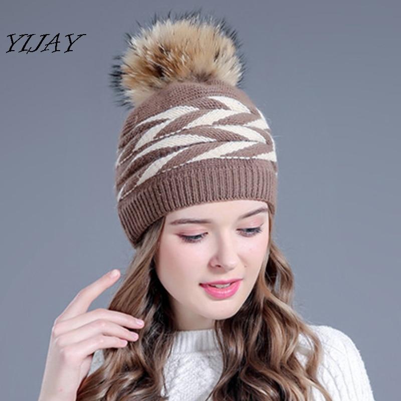 Winter double-deck rabbit fur knitted winter hat for women real fur pom poms hats bonnet hat caps for girl   skullies     beanies