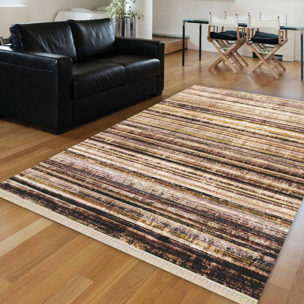Else Brown Black Yellow Geometric Lines Vintage Aging 3d Print Anti Slip Kilim Washable Decorative Area Rug Bohemian Carpet
