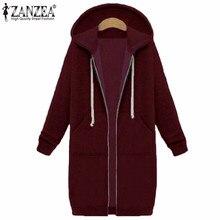 Winter Autumn ZANZEA 2018 New Casual Women Long Hoodies Sweatshirt Coat Pockets Zip Up Outerwear Hooded Jacket Plus Size Tops