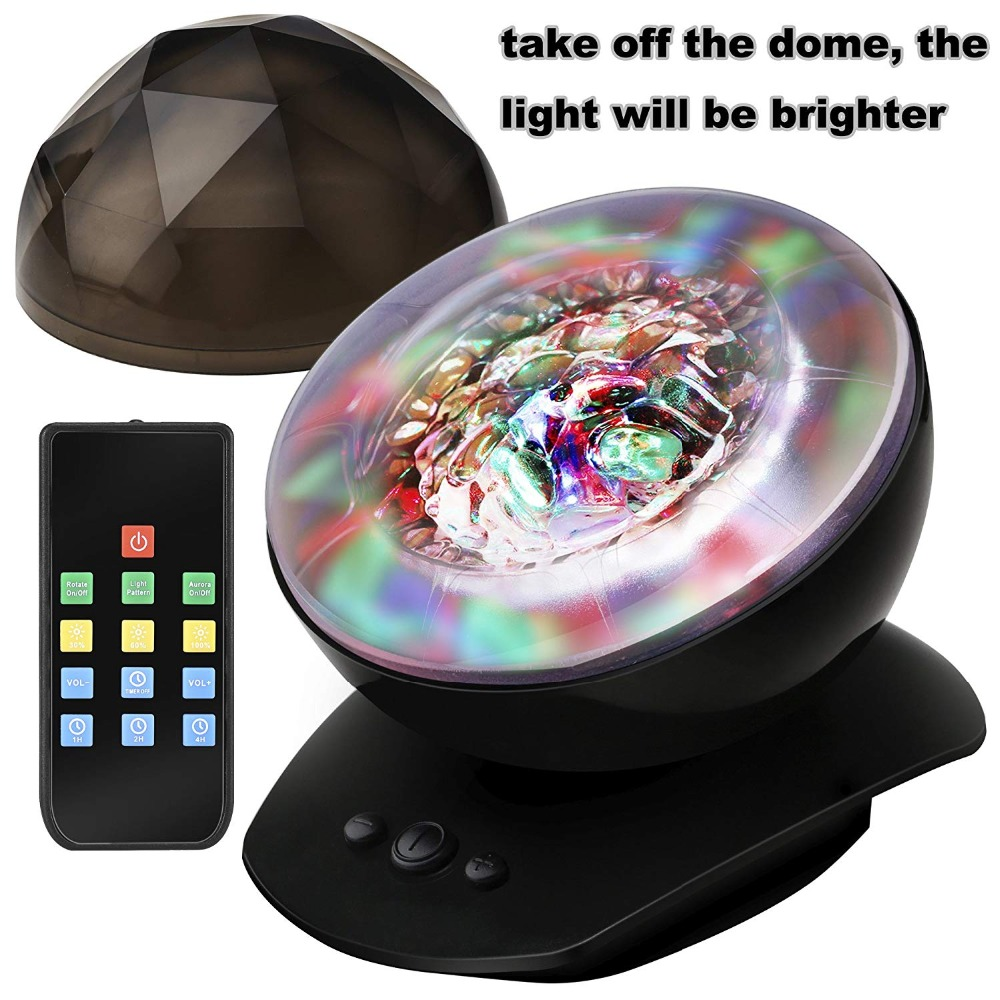 LED Night Light Projector with Timer Remote Music Speaker 8 Lighting Modes Relaxing Light Show Mood Lamp for Baby Kids Adu relaxing healing moon lamp with white 6 led light 4xaa 2xaaa