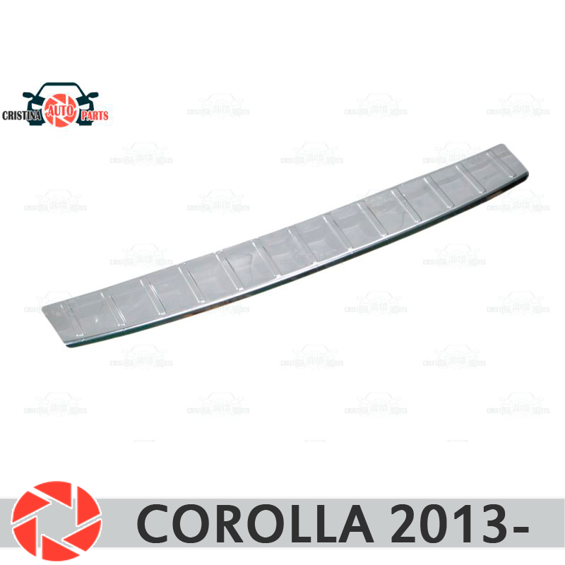 For Toyota Corolla 2013- guard protection plate on rear bumper sill car styling decoration scuff panel accessories molding 1pcs abs chrome carbon fiber exterior car accessories rear bumper trim cover molding for toyota c hr chr 2016 2017 styling