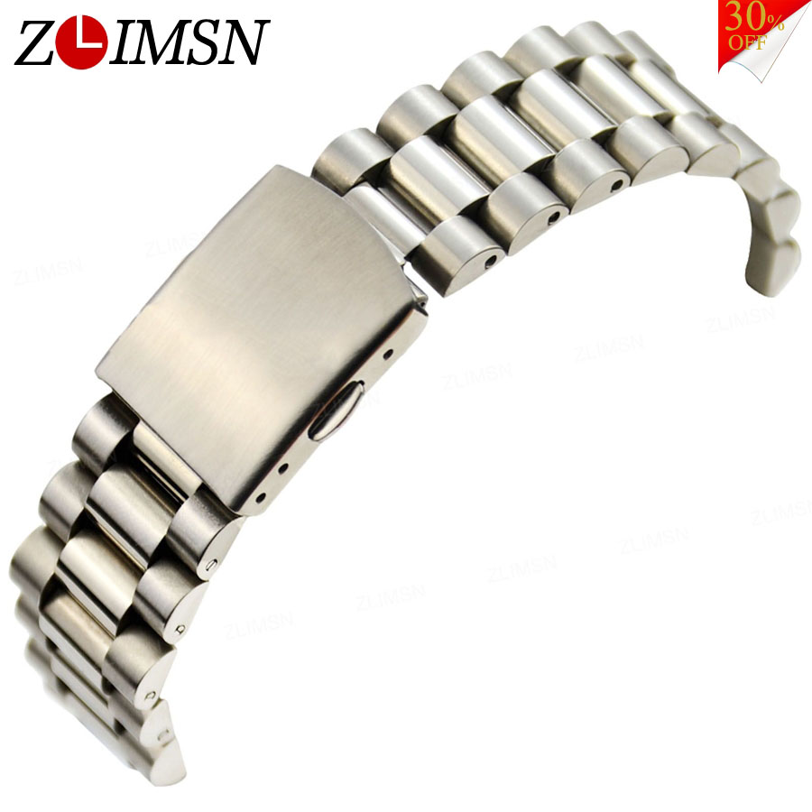 ZLIMSN High Quality Silver Watch Bracelets Solid Stainless Steel Watchbands Adjustable Straps 16 18 20mm Mens