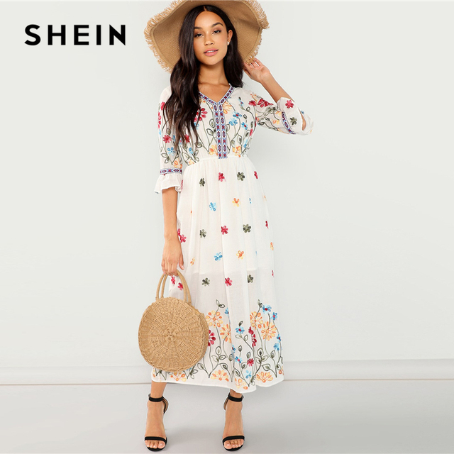 6292f57443 SHEIN White Cotton Flounce Sleeve Fit and Flare Floral Dress Beach Vacation  High Waist V Neck