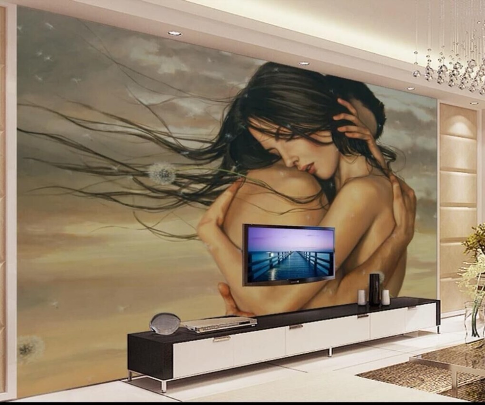 Hand Painted Couple Body Painting TV Background Wall Professional Production Wallpaper Wallpaper