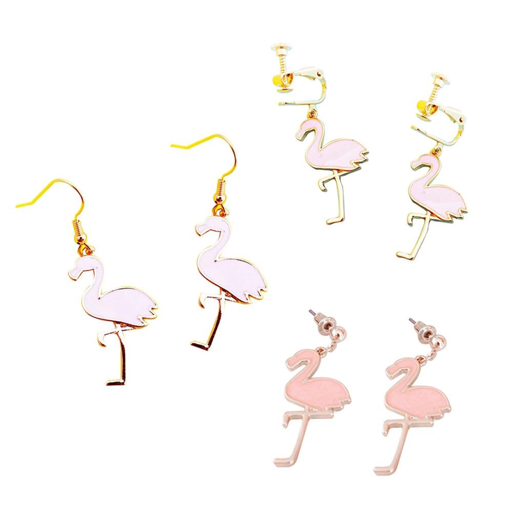 Cute Flamingos Dangle Pendant Hook Stud Clip On Earrings Women Party  Jewelry(china (mainland