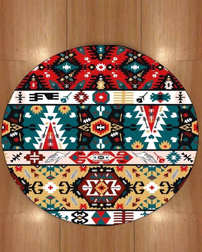 Autre Ottoman traditionnel ethnique turc rouge vert Design 3d impression anti-dérapant dos tapis rond tapis pour salons salle de bain