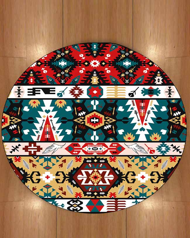 Else Ottoman Tradional Ethnic Turkish Red Green Design 3d Print Anti Slip Back Round Carpets Area Rug For Living Rooms Bathroom