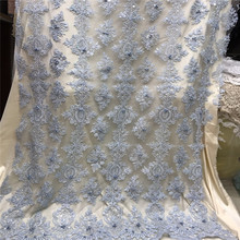 2019 Latest Design African Lace Fabric French Net Lace Fabric With Sequins High Quality African Beaded Tulle Fabric F1061-1