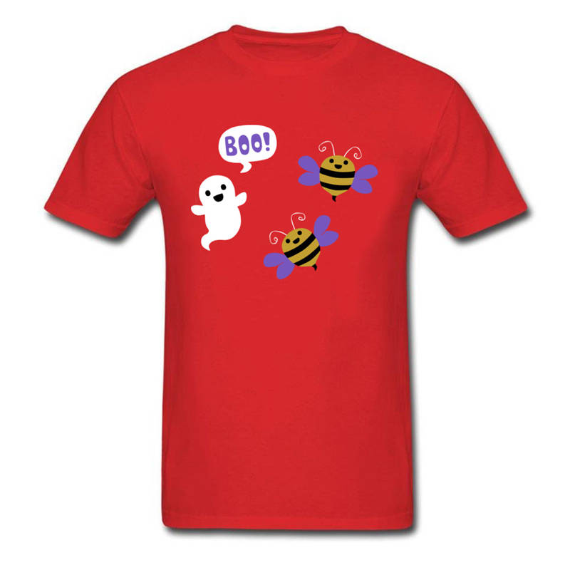 Personalized Tees Fashion O-Neck Short-Sleeve T Shirts Halloween Funny Boo Bees Cartoon For Men