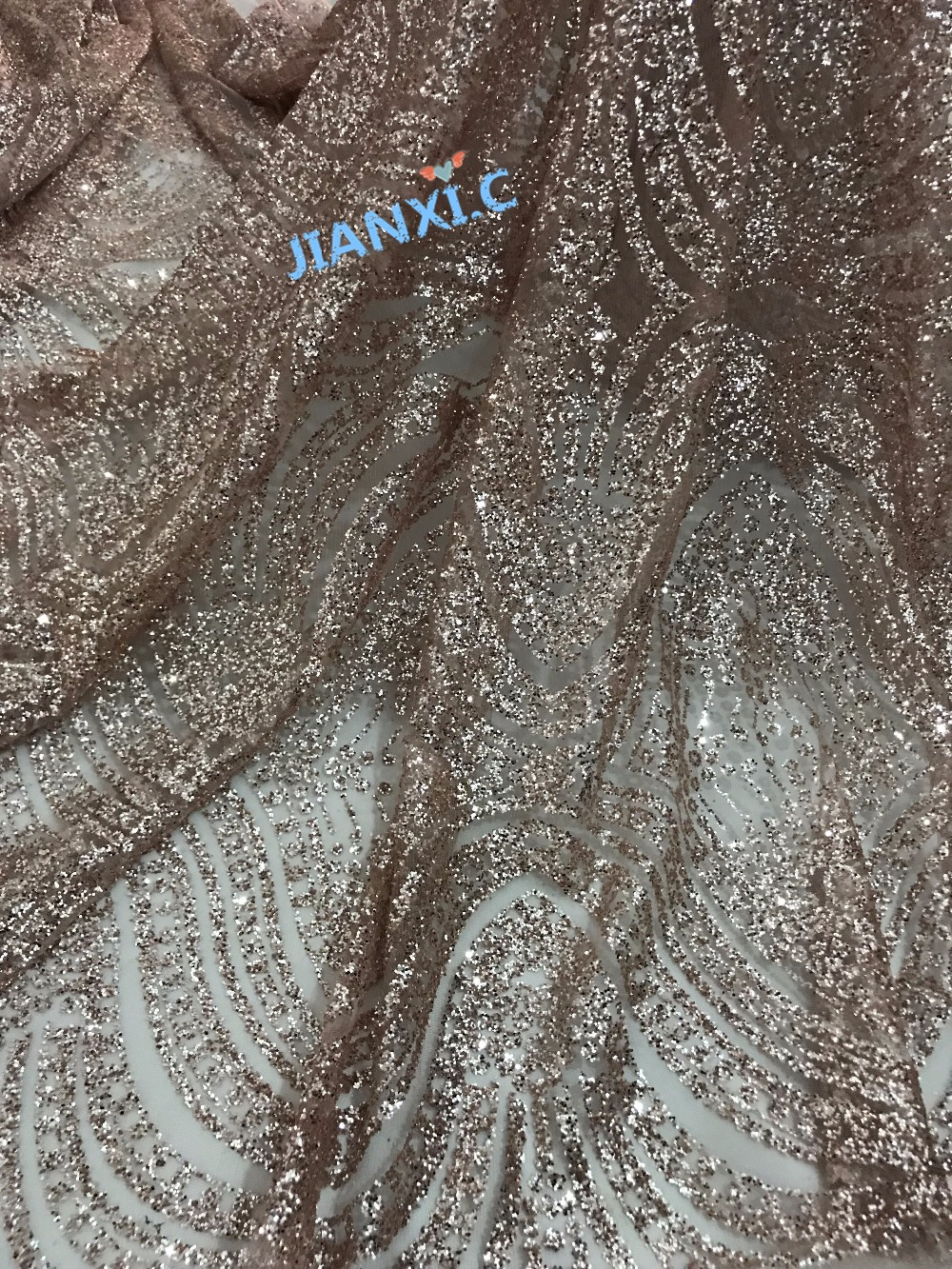 Free Shipping 5y pcs African French Lace Fabric David 11810 with glued glitter High Quality For