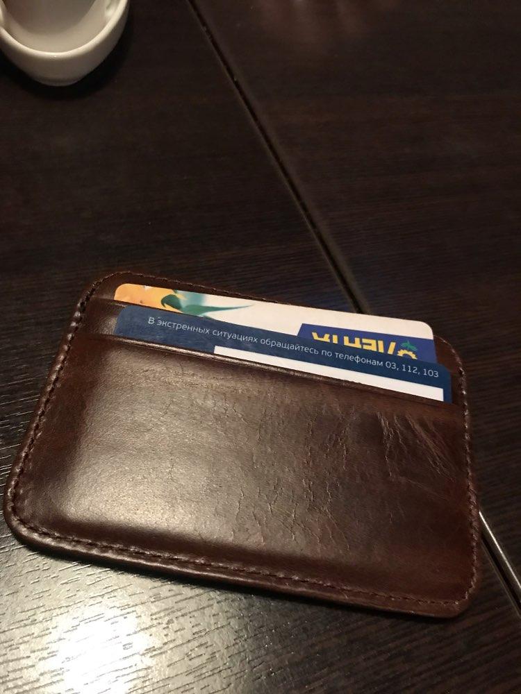KACDYSI Heren Echt rundleer Portemonnee Vintage Slim Munt Tas Retro ID Creditcardhouder Bruin Portemonnee Houder Geldzak photo review