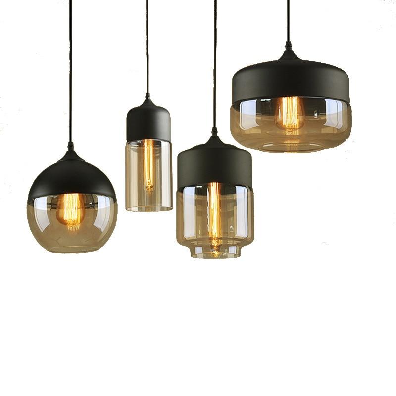LED E27 Retro Loft kitchen dining bar Pendant Lights Creative Cafe Restaurant Droplight Nordic Glass Pendant Lamps Black White in Pendant Lights from Lights Lighting