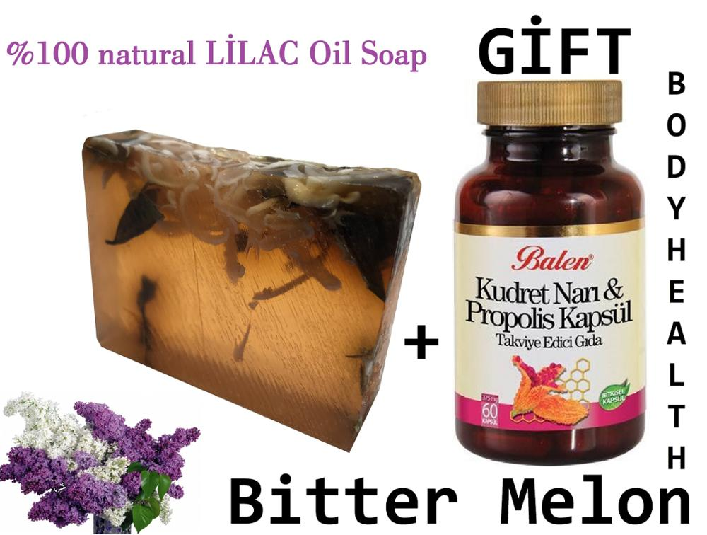 (gift Items)HANDMADE LILAC Essential Oil 100gr Soap+Gift Food Supplement Bitter Melon With Propolis Capsule For Body Health