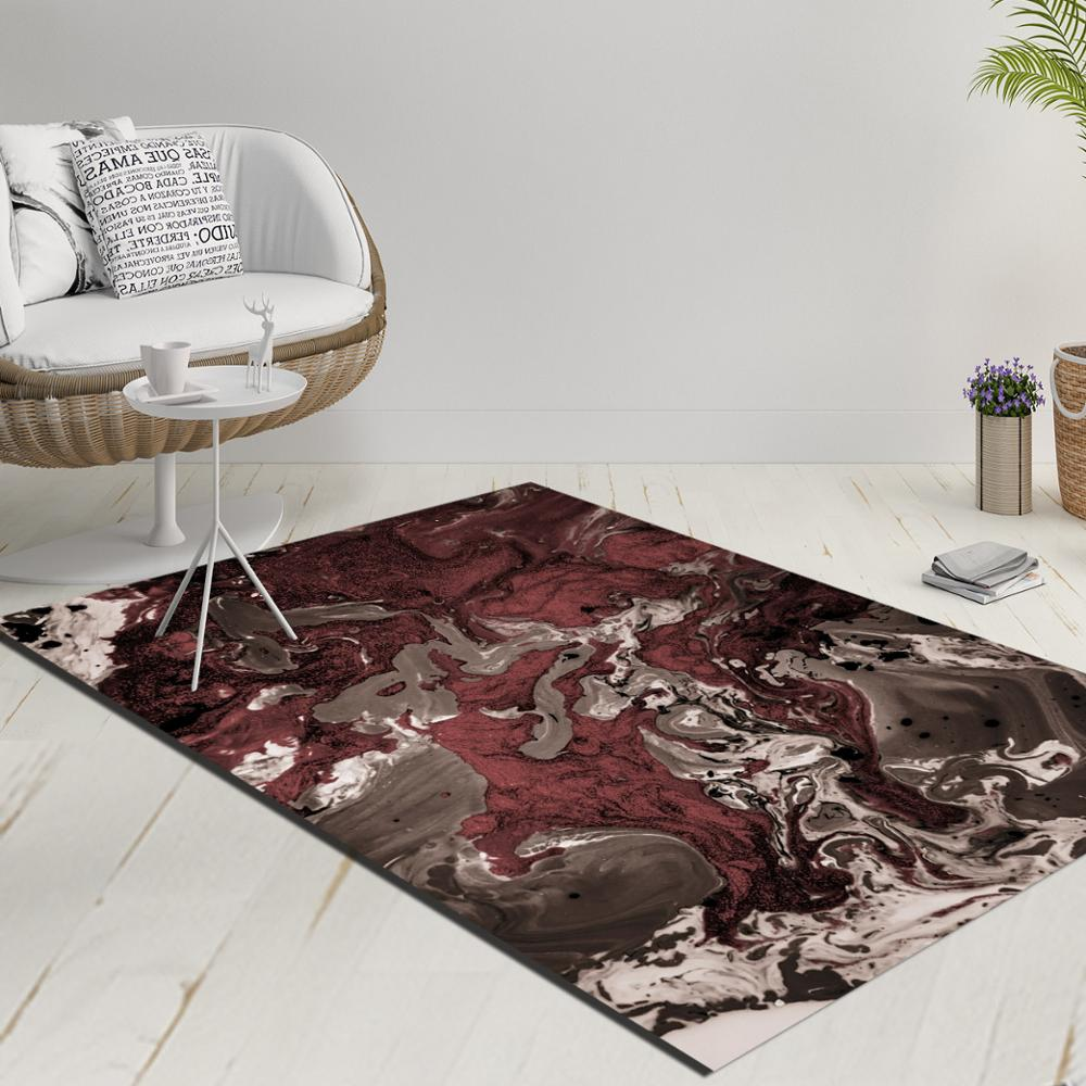 Else Damson Gray Brown Abstract Watercolor Decorative 3d Print Anti Slip Kilim Washable Decorative Kilim Rug Modern Carpet