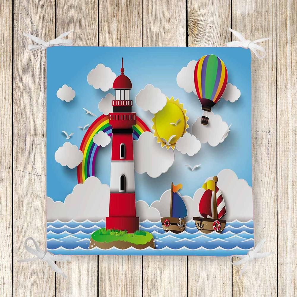 Else Blue Sea Red Lighthouse Ships 3d Print Chair Pad Seat Cushion Soft Memory Foam Full Lenght Ties Non Slip Washable Square