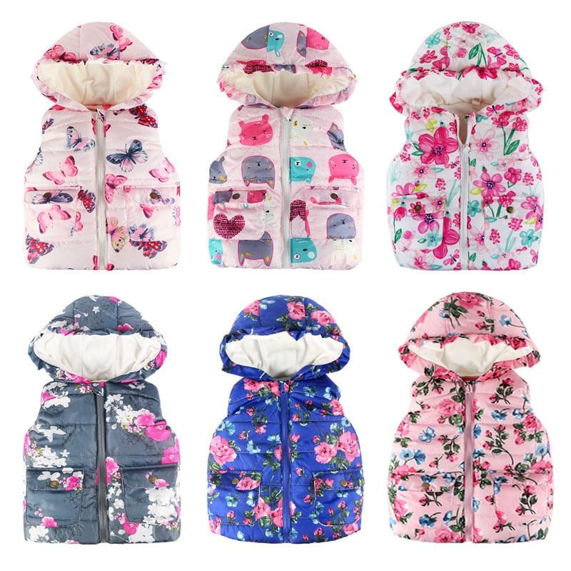 70a6b36be AILEEKISS niños niñas de encaje de Pocke flores ropa de chaleco para bebé  niñas con capucha abrigos de edad de 1-7 años imprimir chaleco prendas de  vestir ...